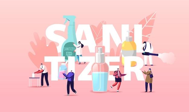 Иллюстрация дезинфицирующего средства с надписями и персонажами крошечных человечков мыть руки антибактериальным мылом