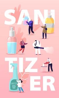 Плакат с дезинфицирующим средством. персонажи-крошечные человечки моют руки антибактериальным мылом
