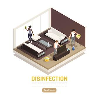Banner isometrico igienizzante con soggiorno e persone