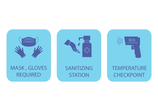 Sanitizing station. temperature checkpoint. mask, gloves and temperature scanning are required. coronavirus rules. it could be used in the train station, airport or other public places. vector