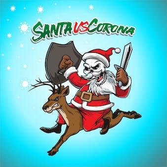 Santa against corona virus illustration
