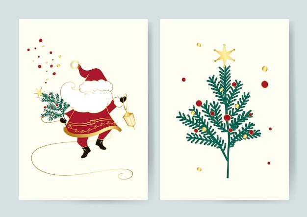 산타와 크리스마스 트리 카드 벡터