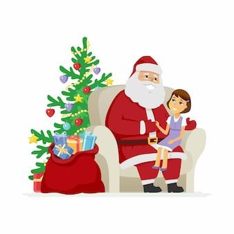 サンタと女の子-現代のベクトル漫画のキャラクターは、白い背景のイラストを分離しました。フロスト神父に子供を膝に乗せて笑顔で、新年とクリスマスにどんな贈り物が欲しいかを話します