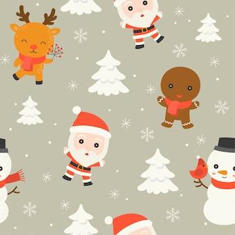 산타와 북극 동물, 캐릭터 편집 가능한 선 세부 사항, 크리스마스 원활한 패턴은