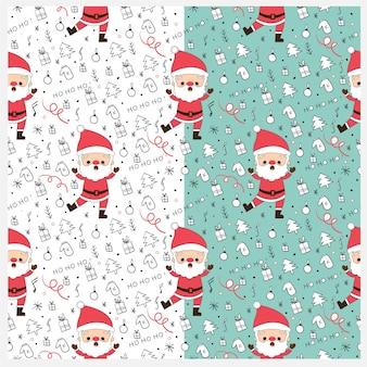 サンタとクリスマスの要素のシームレスなパターン