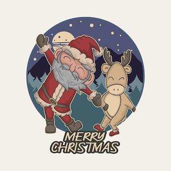 Санта и милый олень танцуют вместе