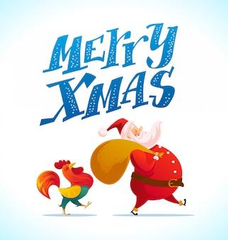 Санта и забавный портрет персонажей петуха на белом фоне. мультяшный стиль. новый год, счастливого рождества, элемент поздравления xmas. хорошо для праздничной открытки, живодер,.