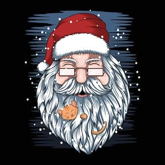 산타와 고양이 메리 크리스마스 벡터 일러스트 레이 션