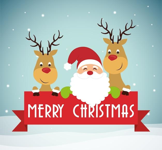 Chistmas 디자인의 산타와 순록 만화
