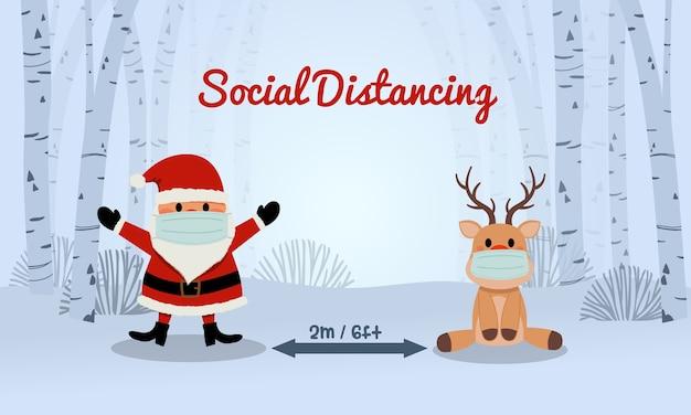 サンタとトナカイの社会的距離意識バナーデザイン。コロナウイルスの安全に関するヒント。メリークリスマス。かわいいフラット。