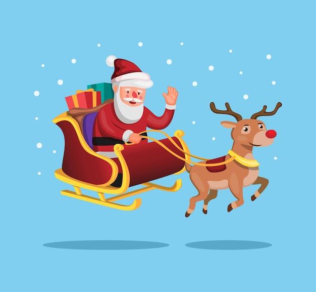 漫画で贈り物を届けるためにクリスマスそりとサンタとトナカイ