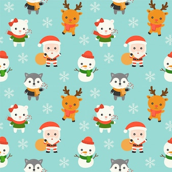 Santa and animal, christmas seamless pattern theme, for use as wallpaper for wrapping pape