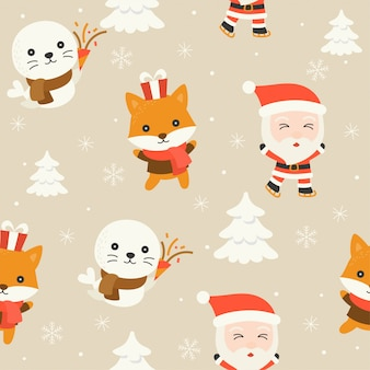 Santa and arctic animal, editable line detail in character, christmas seamless pattern the