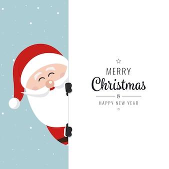 Santa behind board merry christmas winter background