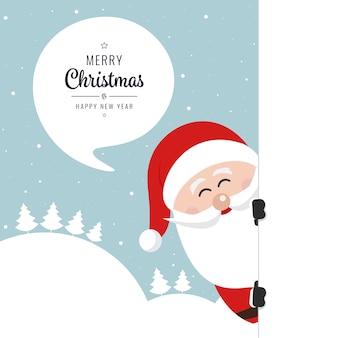 Santa behind board merry christmas winter snow background