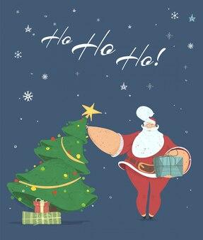 Santa bringing gift box under decorated fir tree