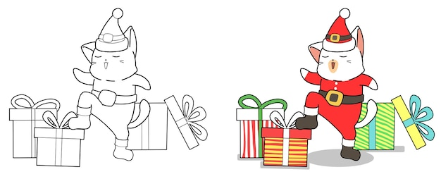 Santa cat and gifts cartoon easily coloring page for kids