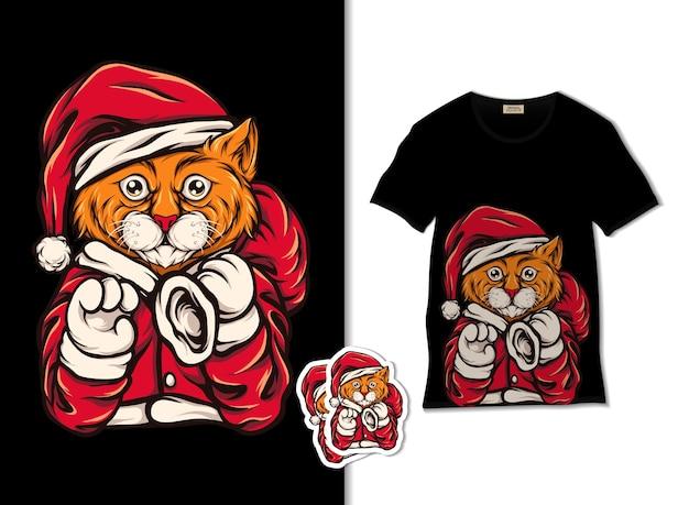 Tシャツのデザイン、手描きのサンタ猫のイラスト