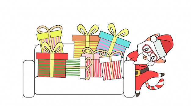 Santa cat with a lot of gift on sofa