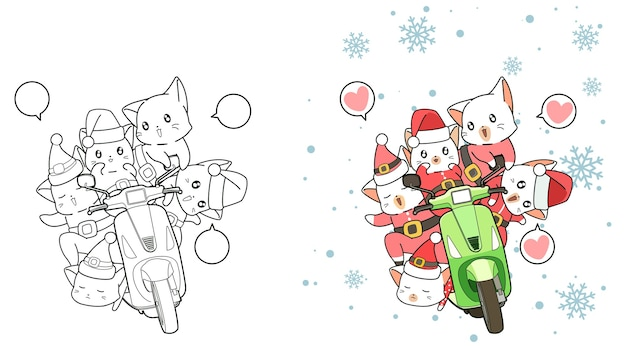 Santa cats and motorcycle cartoon coloring page for kids