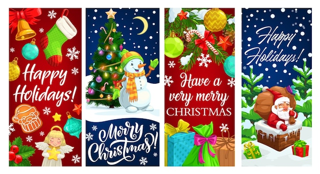 Santa in chimney and snowman with christmas gifts and xmas tree greeting banners. present boxes, bell and claus bag, candy cane, stars and snow, sock, gingerbread and snowflakes, balls, angel