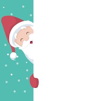 Santa christmas card peeking over the poster