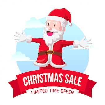 Santa christmas sale icon illustration