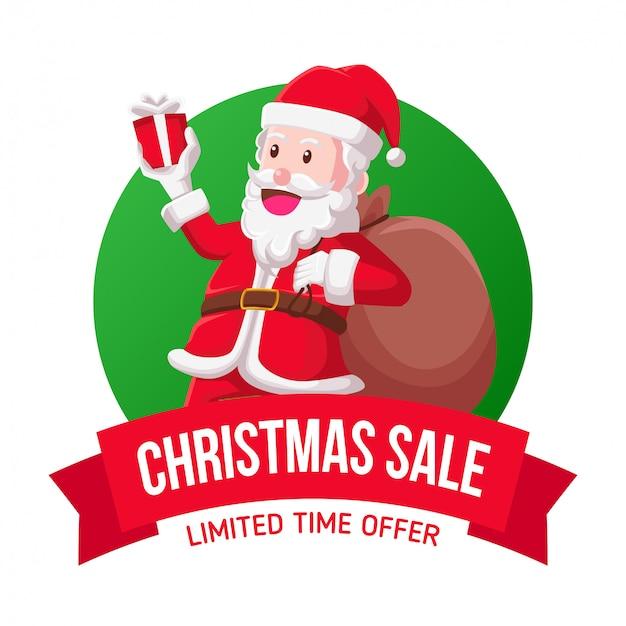 Santa christmas sale icon illustration