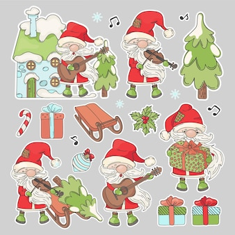 Santa christmas stickers cartoon santa claus with musical instruments and new year attributes printable and plotter cutting clipart vector illustration set Premium Vector