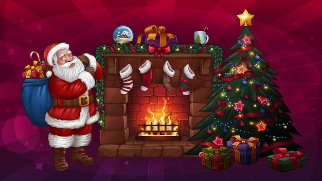 Рождественская елка санта-клауса и камин. иллюстрация