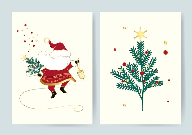 Santa and a christmas tree card vector
