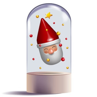 Santa claus 3d toy gift character design in glass dome decorative