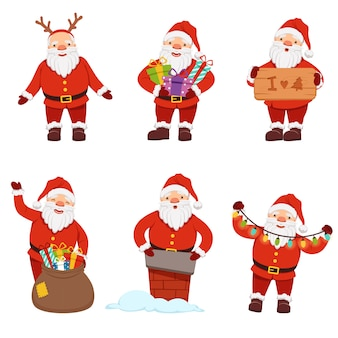 Santa claus in action poses