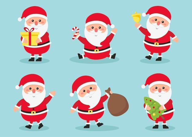 サンタクロースの活動は、青い背景で隔離の新年とクリスマスを設定します