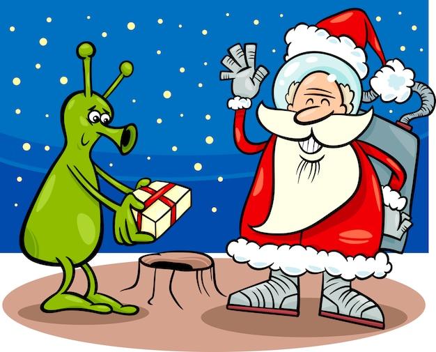 Santa claus and alien cartoon illustration
