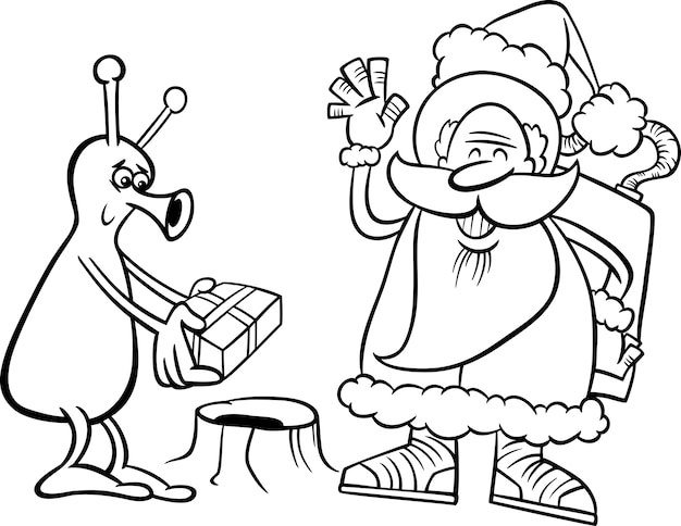 Santa claus and alien coloring page