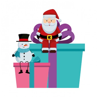 Santa claus amd snowman in gifts