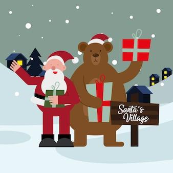 산타 클로스와 곰 선물 크리스마스 문자 벡터 일러스트 디자인