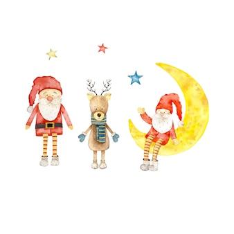 サンタクロースとクリスマスの鹿。水彩イラスト