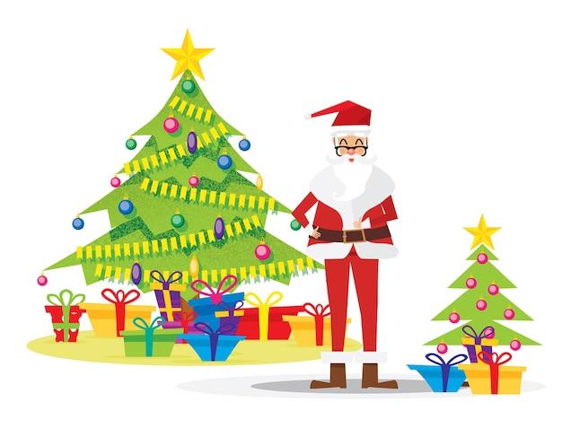 Санта-клаус и рождественская елка, изолированные на белом