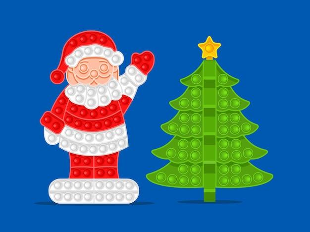 새 해 안티 스트레스 장난감 벡터 일러스트 레이 션의 산타 클로스와 크리스마스 트리 기호