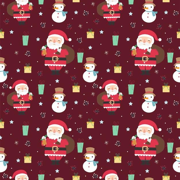 サンタクロースとクリスマスのさまざまな要素のシームレスパターン