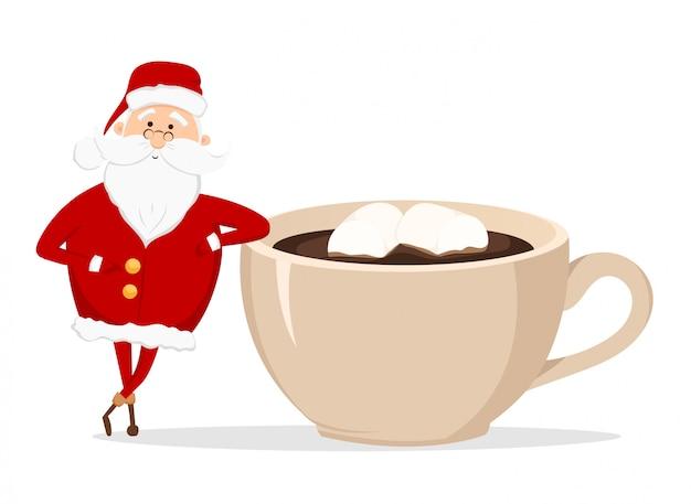 산타 클로스와 마시 멜로와 커피 한잔