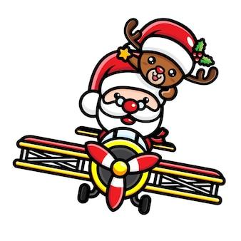 Санта-клаус и милый олень, летящий на самолете