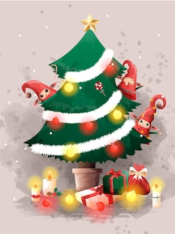 산타 클로스와 귀여운 엘프 최고의 선물 크리스마스 이브 축복.