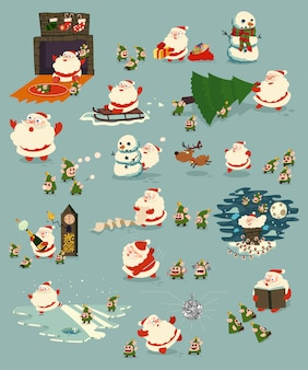산타 클로스와 귀여운 엘프 만화 캐릭터 세트 녹색에 고립