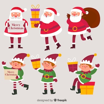 サンタクロースとエルフのクリスマスコレクションのポーズ