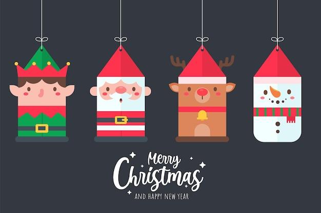 크리스마스 장식을 위해 종이를 매달고 있는 산타클로스와 친구 만화 캐릭터