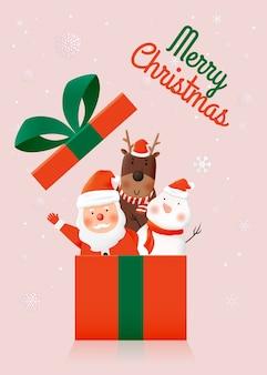Санта-клаус и друзья в подарочной коробке. милый бумажный арт дизайн и пастельные тона