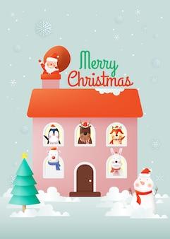 Санта-клаус и банда звериной вечеринки с очень симпатичным дизайном персонажей в бумажных и пастельных тонах